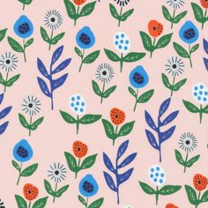 Land of Munchkins by Leah Duncan for Cloud 9 Fabrics Modern Floral Fabric Organic Cotton Fabric OE 100 Certified Organic Cotton Cobalt Blue by Owlanddrum on Etsy Floral Fabric, Blue Fabric, Cotton Fabric, Floral Prints, Fun Prints, Fabric Factory, Sustainable Fabrics, Cloud 9, Surface Pattern Design