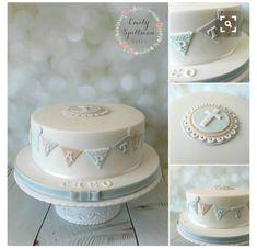Christening/Baptism Baby Boy Cake with Cross and cute bunting, buttons and lace Christening Cake Boy, Baby Boy Baptism, Baptism Party, Baptism Cakes, Baptism Ideas, Baby Boy Cakes, Cakes For Boys, Baby Shower Cakes, Dedication Cake