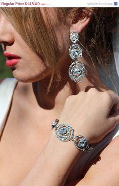 Bridal jewelry set bridal crystal bracelet  by BijouxandCouture, $103.60