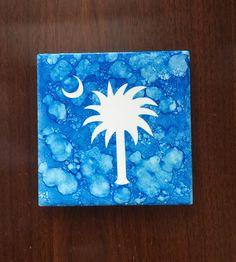 South Carolina Palmetto Tile Coaster, SC Home Coaster, South Carolina, Blue Palm Tree Coaster - pinned by pin4etsy.com