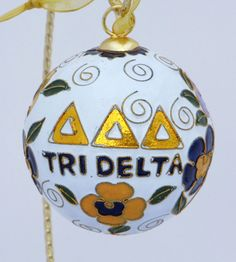Tri Delta Cloisonne Ornament with 24k gold by KittyKellerDesigns, $38.00