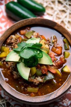 If you are searching for a spicy soup with Mexican inspired ingredients look no further than Paleo Taco Soup, zesty lime wedges optional.