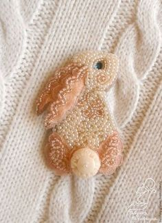 "Brooch handmade. Fair Masters - handmade. Buy Brooch ""Zai"" from the Japanese beads. Handmade. Beige, grandmother Boniface"