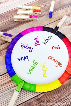 This easy DIY color matching game for toddlers is a clever way to practice color recognition and words, and it's adaptable to different ages and skill levels! Rainbow Wheel Color Matching Game for Toddlers Colors Color Games For Toddlers, Teaching Toddlers Colors, Matching Games For Toddlers, Educational Games For Toddlers, Flashcards For Toddlers, Indoor Games For Kids, Teaching Colors, Toddler Learning Activities, Toddler Preschool