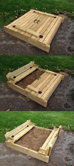 Carré de sable (sandbox) home made - avec couvercle et banc rabatable (folding seats)