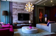 lavender blue and gray interior design - Google Search Trendy Living Rooms, Plum Living Rooms, Purple Living Room, Contemporary Living Room Design, Living Room Grey, Futuristic Interior, Beautiful Living Rooms, Teal Living Rooms, Room Design