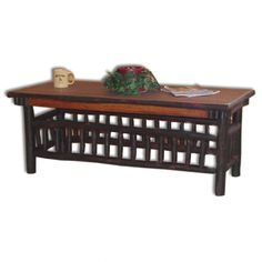 """Rustic Hickory Lumberjack Collection Coffee Table Price: Amish Rustic Hickory Lumberjack Collection Coffee Table built from Solid Wood in Indiana and Ohio with quality Amish Furniture craftsmanship techniques""""> Hickory Furniture, Amish Furniture, Furniture Making, Country Decor, Farmhouse Decor, End Tables, Occasional Tables, Quality Furniture, Mesas"""