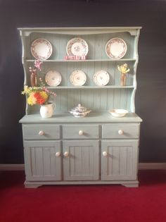 Now sold Aged porcelain blue farmhouse welsh dresser painted in period colours £355 (If you would like to buy this item call the sales office on 01903 753377 or come down to our showroom www.thergf.co.uk)