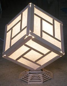 Cube light made from popsicle sticks and paper