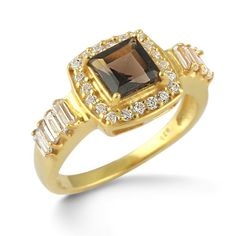 Fine 925 Sterling Silver Ring Genuine Smoky Topaz Gold Plated Jewelry SZ 7 #Rinnga