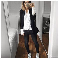 Bonne soirée! • Jacket #maje (old) • Top #thekooples (old) • Jean #raiineraiine (from @cyrielleforkure) • Sneakers #goldengoose (on @shoescribe) ...
