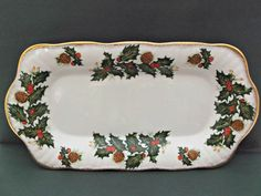 Vintage Royal Minster Fine Bone China Condiment Trays Holly Berries Pinecones  offered by Ruby Lane shop Saltymaggie's Treasures