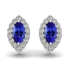 .26ctw Marquise Tanzanite Earring With .224ctw Diamonds in 14k White Gold