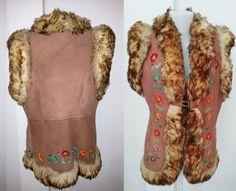 Vintage 70's genuine Leather lamb fur West by DorisVintage on Etsy