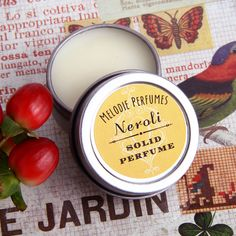 Neroli solid perfume by MelodiePerfumes. Neroli has an uplifting and yet calming orange blossom like fragrance.