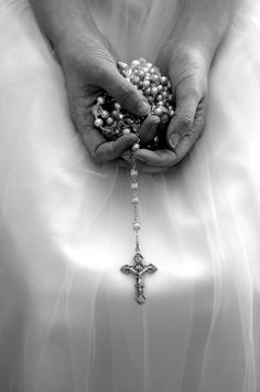 """The Rosary is the most beautiful and richest of all prayers to the Mediatrix of all grace; it is the prayer that touches most the heart of the Mother of God. Say it each day.""  -Pope Saint Pius X    The Rosary-A beautiful sign of a pure heart, body, and soul. I look up to Our Lady so much to be chaste for my future husband!"