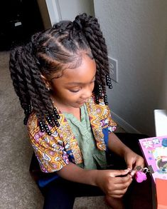 Current state of Maya's twists👆🏾placed up in two ponytails👧🏾. Answ… Current state of Maya's twists👆🏾placed up in two ponytails👧🏾. Answering a few questions… This style was done on previously stretched hair… Lil Girl Hairstyles, Girls Natural Hairstyles, Natural Hairstyles For Kids, Kids Braided Hairstyles, Toddler Hairstyles, Little Girl Braids, Braids For Kids, Curly Hair Styles, Natural Hair Styles