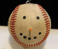 Country Baseball Snowman Ornament