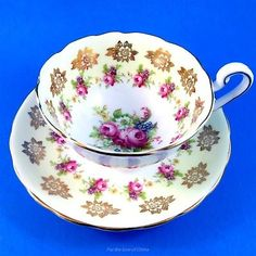 Yellow Border with Pretty Roses Victoria Tea Cup and Saucer Set