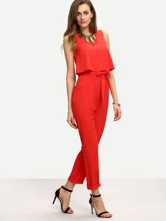 Sleeveless Bow Tie Waist Jumpsuit