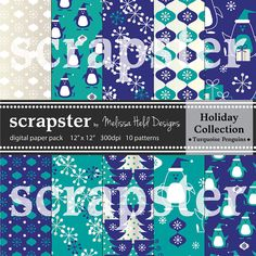 Penguin Digital Patterns Turquoise Navy by ScrapsterbyMHdesigns, $4.50