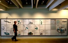 A low-res, pre-overhead-lighting-adjustment shot of a large graphic wall that's part of Public Interest Design: Products, Places, & Processes exhibition.