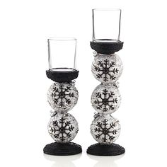 """Stitched Ornament Stands (Set of 2)       Resin. Two Straight Votive Glasses included. Large: 2 3/4"""" D X 7 3/4"""" H, Small: 2 3/4"""" D X 5 3/4"""" H. Fits votives and tealights. Limited quantities available as #gifts from #ttscents #gold canyon"""