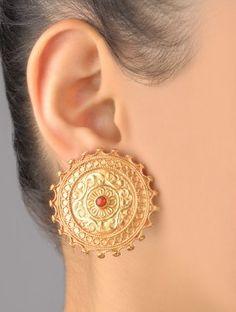 Surya Ruby Carved Earrings