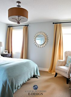 Paint colour review, Sherwin Williams Silver Strand, south facing bedroom, beige carpet, south facing. Kylie M INteriors E-design, online virtual paint consulting