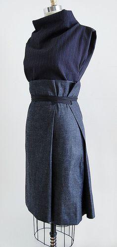 UNIFORM Studio twofold pencil wrap skirt in deep indigo denim -in my shop at noon on Friday, 70s Fashion, Look Fashion, Korean Fashion, Womens Fashion, Fashion Tips, French Fashion, Winter Fashion, Fashion Skirts, College Fashion