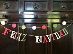 FELIZ NAVIDAD Garland Holiday Banner Photo Prop Merry Christmas Happy Hannukah Buon Natale