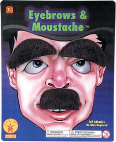 Small Moustache and Eyebrows Set (includes one set of eyebrow and moustache in a pack)
