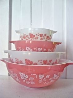 Pink stacking bowls-I have these and use them all the time! Bring back g-ma memories!