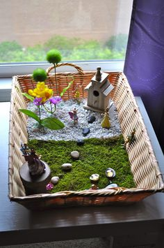 "Simple Fairy Garden in a basket from Kara's Classroom ("",)"