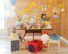 Decoração Pequeno Príncipe – Inspire sua Festa ® The Little Prince Theme, Little Prince Party, Prince Birthday Party, First Birthday Parties, Baby Shower Themes, Baby Boy Shower, Snoopy Birthday, Airplane Party, Birthday Design