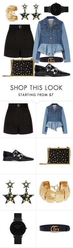 """""""Fashion Week: Outfit #13"""" by trendingsetter ❤ liked on Polyvore featuring RED Valentino, Sea, New York, Victoria Beckham, Alice + Olivia, Chanel, CLUSE and Gucci"""