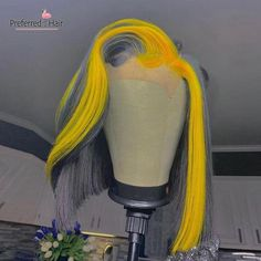 Grey Bob Hairstyles, Wig Hairstyles, Dyed Natural Hair, Natural Hair Styles, Hair Colorful, Styles Courts, Bob Lace Front Wigs, Front Lace, Short Human Hair Wigs