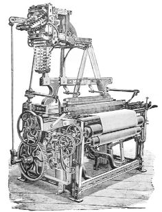 Edmund Cartwright's Calico Power Loom - This machine helped to shape the textile industry during the early days of the Industrial Revolution in Great Britain. Weaving Machine, Dobby Fabric, Jacquard Loom, Butterworth, Textile Industry, Loom Weaving, Great Britain, Regency, Inventions