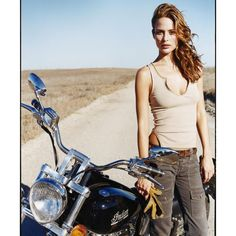 Josie Maran and her Indian Scout motorcycle
