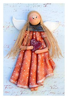 Daisy the Salt Dough Angel by AngelsNook on Etsy, … Salt Dough Crafts, Salt Dough Ornaments, Angel Ornaments, Diy Christmas Ornaments, Christmas Angels, Homemade Ornaments, Felt Christmas, Homemade Christmas, Christmas Decorations