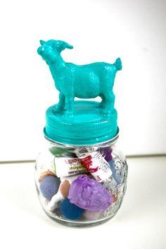 DangerCatByEmeli on etsy.com  goat, jar, container, turquoise, aqua