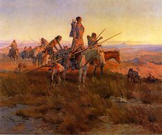 In The Wake Of The Buffalo Hunters - Charles Marion Russell (b. 1864, Oak Hill, Missouri - d. 1926, Great Falls, Montana), also known as C.M. Russell, was one of the great artists of the American West. Russell created more than 2,000 paintings of cowboys, Indians, and landscapes set in the Western United States, in addition to bronze sculptures. His mural entitled Lewis and Clark Meeting the Flathead Indians hangs in the state capitol building in Helena, Montana.
