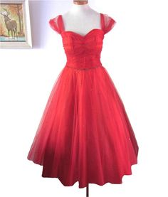 Vintage 1950s Dress  :  Red Full Skirted Dress with Tulle and Rhinestones. $248.00, via Etsy.
