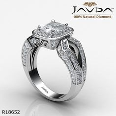 Split Shank Pave Sidestone Cushion Diamond Engagement Ring 14k White Gold.