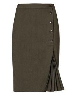 Shop Banana Republic's Side-Button Pencil Skirt: An always-flattering pencil skirt with side-button detail and a feminine kick-pleat. Skirt Outfits, Dress Skirt, Skirt Midi, Corset Dresses, Skirt Pleated, Denim Skirt, Work Fashion, Fashion Outfits, Steampunk Fashion