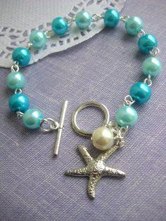 Starfish, turquoise, destination wedding, glass pearls bracelet