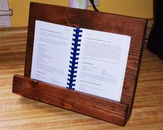 Cookbook Stand Kitchen Decor Wooden IPAD Stand By BlueLineGarage