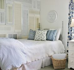 Want to add interest to a blank wall? Fill the space with shutters!