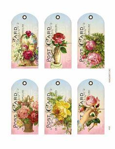 Victorian rose postcard hang tags