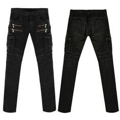 *Online Exclusive* Men's stretch cargo moto zip jeans
